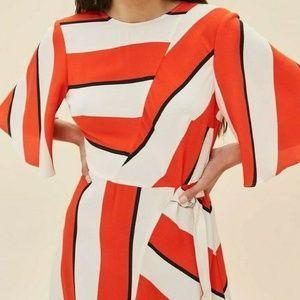 TopShop Asymmetrical Stripe  Midi Dress fits  XS